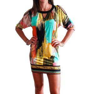 Beige by Eci Cold Shoulder Keyhole Printed Dress
